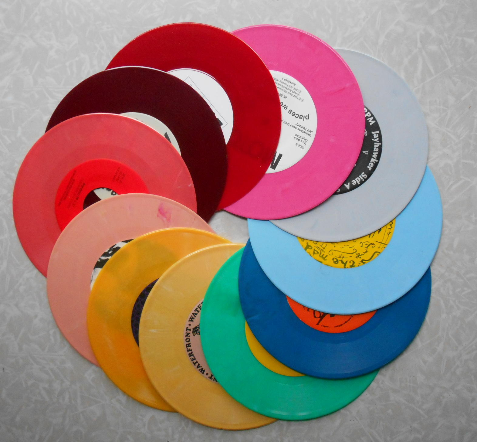 Rainbow of colored records rare record vinyl