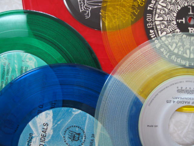 Assorted Colored Record red yellow green blue clear