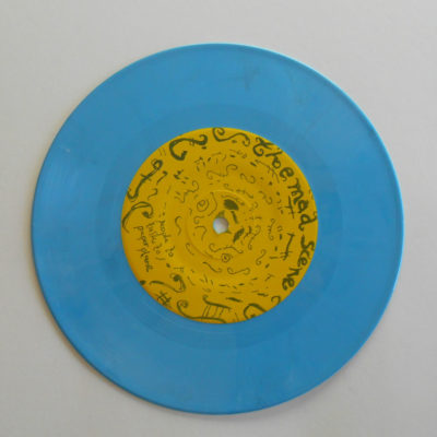 Sky blue colored record opaque 7 inch vinyl record