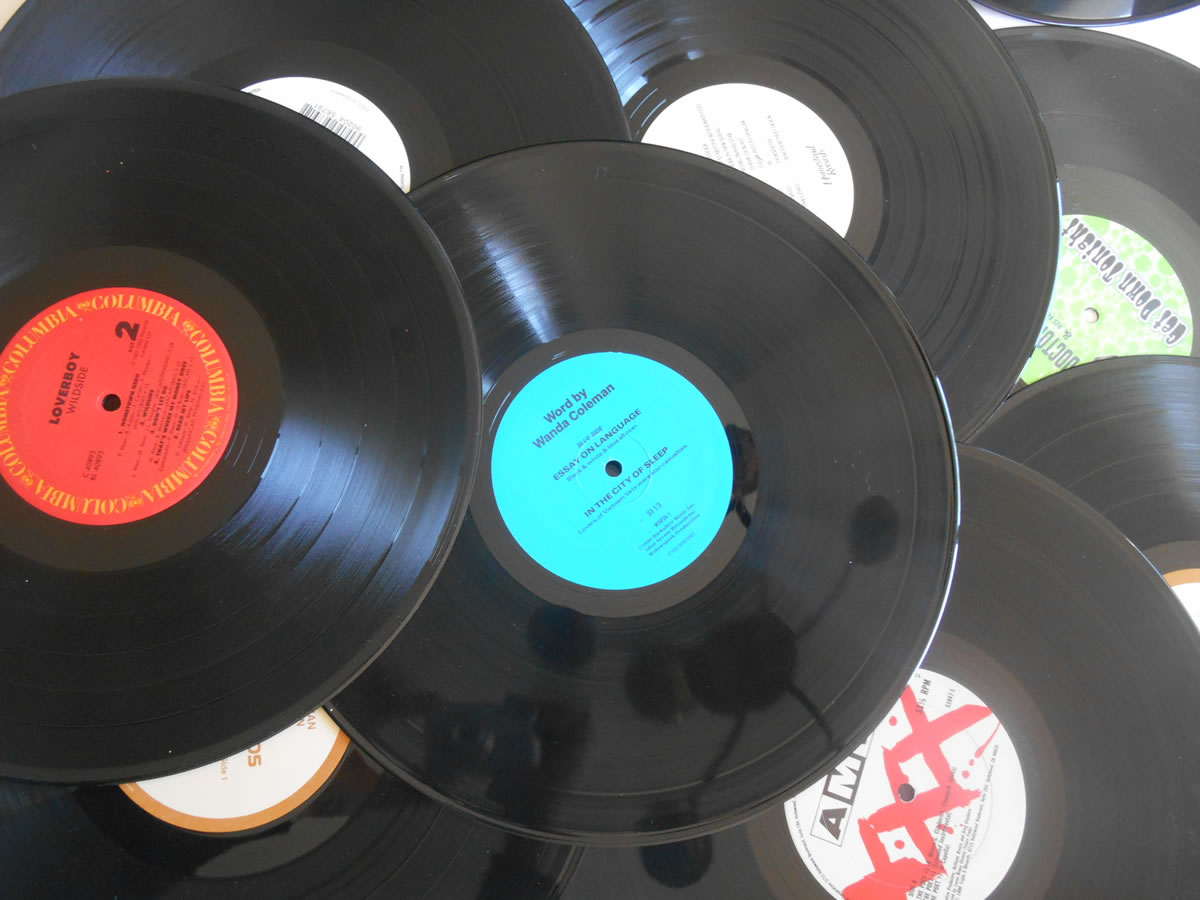 5 black 12 inch records for crafts and art projects for Vinyl records arts and crafts