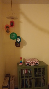vinyl record nursery mobile colored records