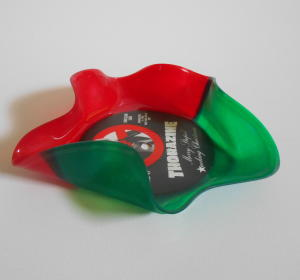 Red and green split vinyl record bowl