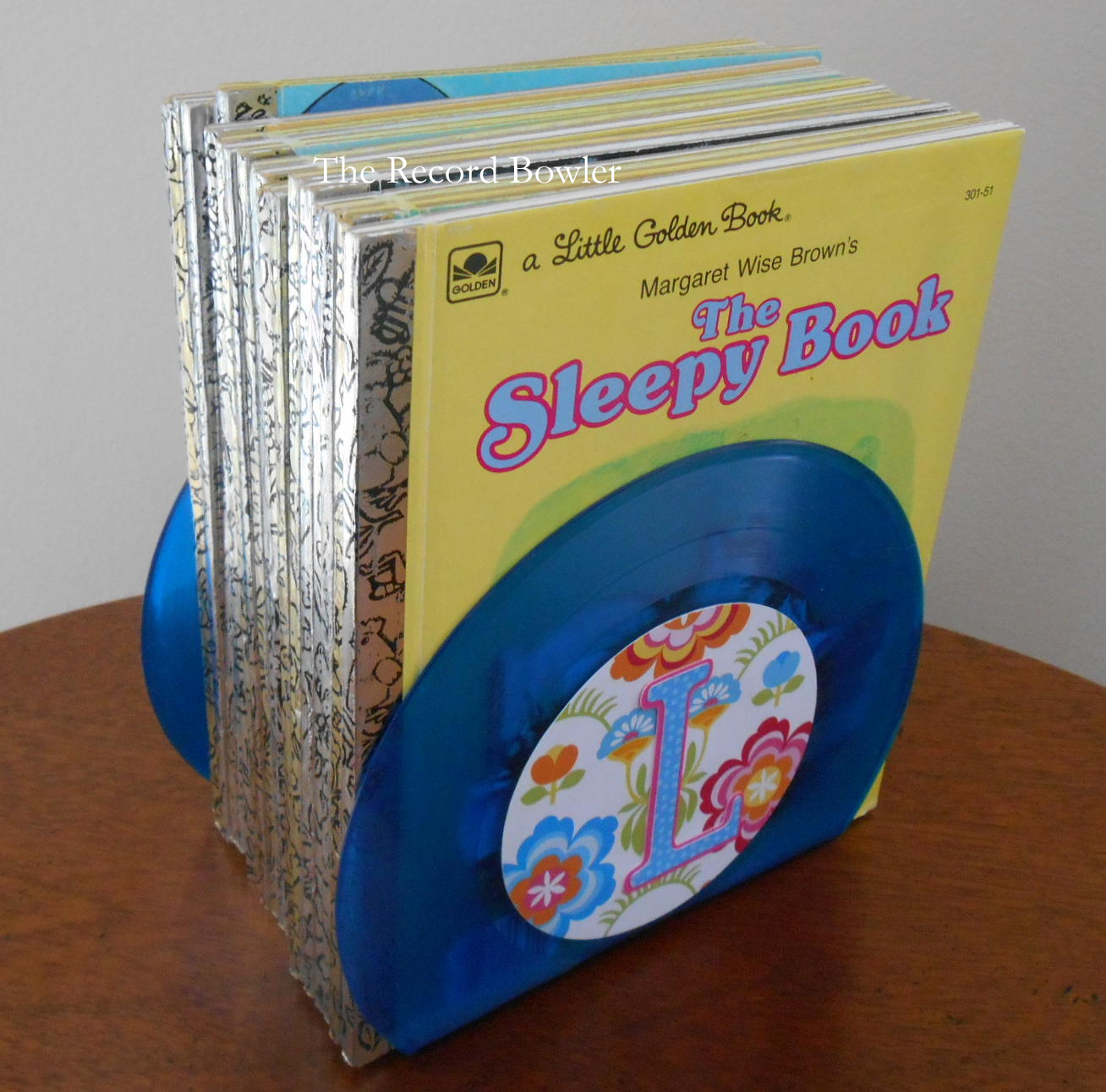 blue colored record book ends