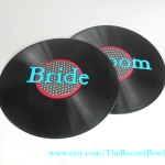 bride groom record table art
